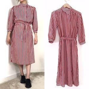 Vintage • 80s Red White Vertical Stripe Midi Dress
